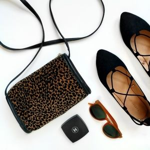 Vintage Animal Print Cheetah Leopard Crossbody Bag